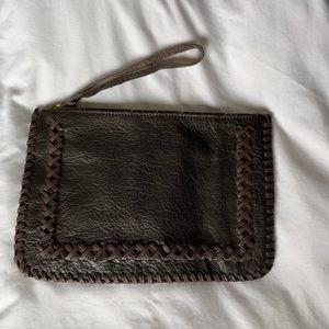 Handbags - DARK BROWN LEATHER CLUTCH WITH WRISTLET